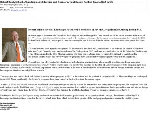 LSU ランドスケープアーキテクチュア News Letter