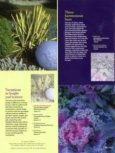 Left: いろいろな高さとテキスチャーを利用する。 Right: 調和した色相を持つ植物を利用する。