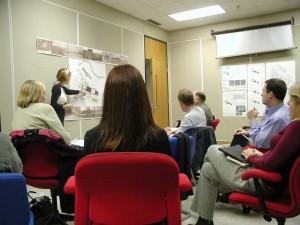 ルイジアナ州立大学ランドスケープ・アーキテクチュアのデザインスタジオのプレゼンの様子。2004年1月。