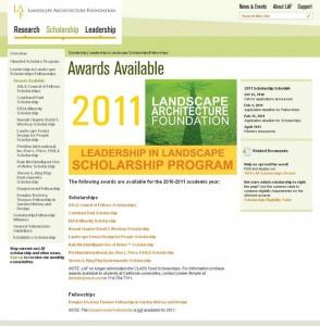 LAF の奨学金情報のウェブサイト